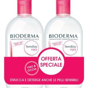 OFFERTA BIODERMA SENSIBIO H2O SOLUZIONE MICELLARE DETERGE E STRUCCA 2X500ML su Parafarmacie.shop